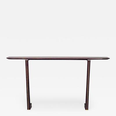 Maxime Old French 1940s Brass Mounted Makore Veneered Console Table