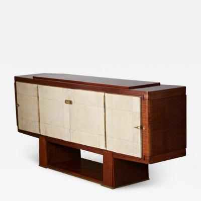 Maxime Old French Art Deco Cabinet by Maxime Old Rosewood with Parchment Doors