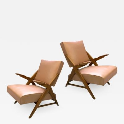 Maxime Old Maxime Old Style pair of slender 50s french lounge chairs