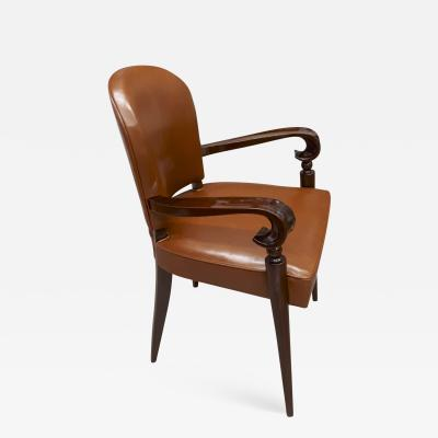 Maxime Old Maxime Old documented mahogany desk chair newley covered in leather