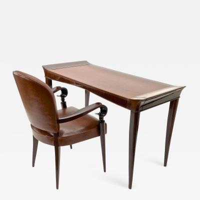 Maxime Old Maxime old exceptional slender mahogany desk and chair with leather top