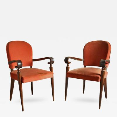Maxime Old Pair of French Art Deco Bridge Armchairs by Maxime Old