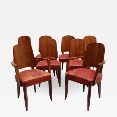 Maxime Old SET OF EIGHT FRENCH ART DECO PALISSANDER CHAIRS BY MAXIME OLD