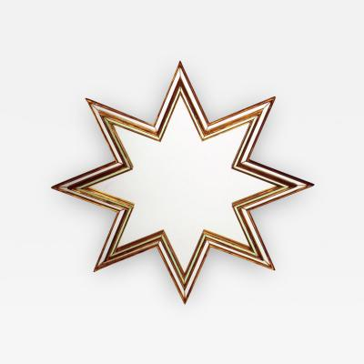 Maxime Old Star Handmade Mirror in Murano Glass Gilded Wood and Gold Leaf