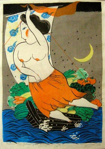 Mayumi Oda Mayumi Oda Silkscreen Treasure Ship Goddess of All Earth 16 50 1976