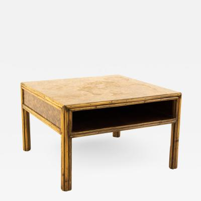 McGuire Mid Century Bamboo Burled Laminate Side End Table