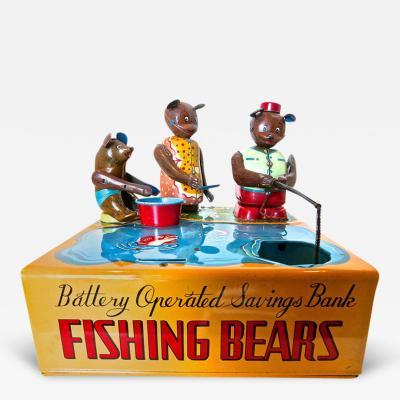 Mechanical Bank Fishing Bears Circa 1950s