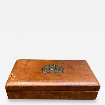 Medallion Adorned Distressed Leather Jewelry Box Vintage Midcentury MEXICO