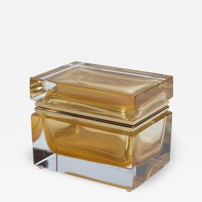 Medium Murano Blown 24K Gold Box Contemporary