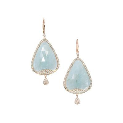 Meira T Meira T Aquamarine Diamond Micro Pave Rose Gold Dangle Earrings
