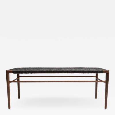 Mel Smilow 60 Walnut and Black Rush Bench by Smilow Furniture