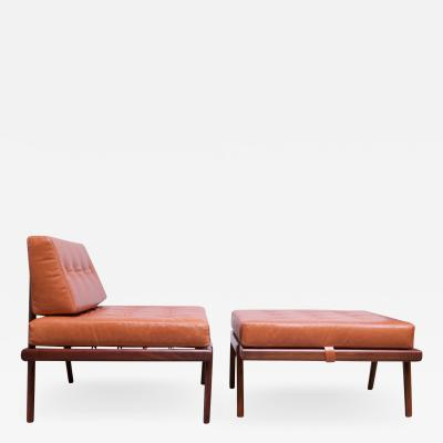 Mel Smilow Midcentury Walnut and Leather Lounge Chair and Ottoman by Mel Smilow