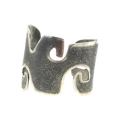 Melanie A Yazzie Grandmother Silver Cuff bracelet designed by Melanie Yazzie Navajo