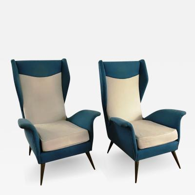 Melchiorre Bega 1950s Pair of Armchairs with Very High Back