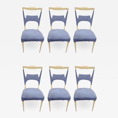 Melchiorre Bega A rare set of six sycamore dining chairs by Melchiorre Bega Italy 1970