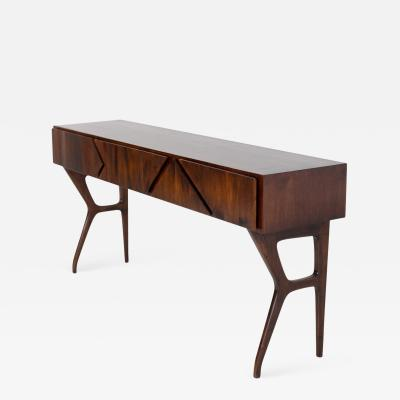 Melchiorre Bega Italian Console Table Attributed to Melchiorre Bega in Walnut Wood