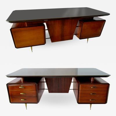 Melchiorre Bega Italian Modern Rosewood Mahogany Glass Bronze Executive Desk Melchiorre Bega