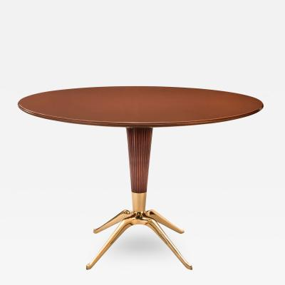 Melchiorre Bega Melchiorre Bega Italian Round Mahogany and Reverse Painted Glass Pedestal Table