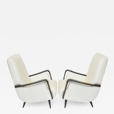 Melchiorre Bega Midcentury Melchiorre Bega Italian Modern Dark Walnut Upholstered Club Chairs