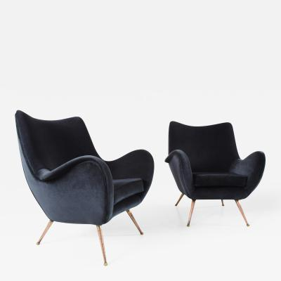 Melchiorre Bega Pair of Dynamic Lounge Chairs by Melchiorre Bega in Gray Velvet Italy ca 1955
