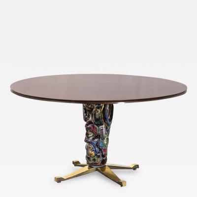 Melchiorre Bega Pietro Melandri Melchiorre Bega Round Wood and Ceramic Table