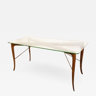 Melchiorre Bega Table in wood and glass attributed to Melchiorre Bega