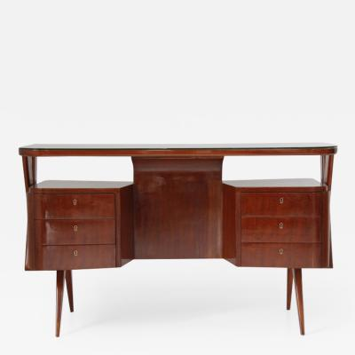 Melchiorre Bega Walnut Desk with Glass Top and Drawers