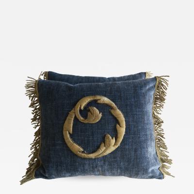 Melissa Levinson 19th C Metallic Appliqued Pillows Pair