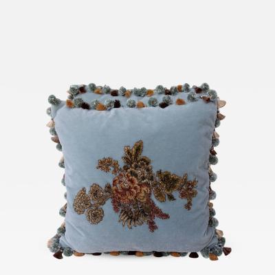 Melissa Levinson 19th C Metallic Chenille Appliqued Blue Mohair Pillows pair