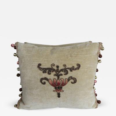 Melissa Levinson 19th C Metallic Chenille Appliqued Pillows by Melissa Levinson