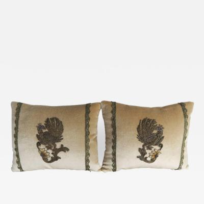 Melissa Levinson 19th C Metallic Embroidered Velvet Pillows Pair