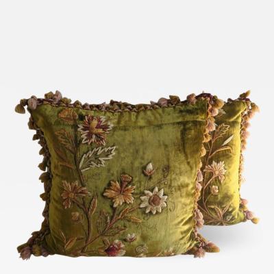 Melissa Levinson Antique Silk Velvet Embroidered Pillows Pair