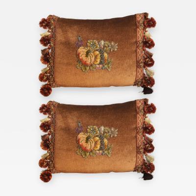 Melissa Levinson Metallic Chenille Appliqued Silk Mohair Pillows Pair