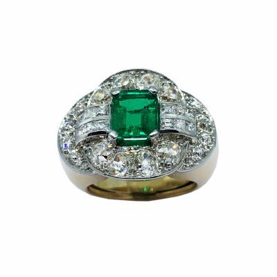 Mellrio Paris art deco emerald and diamond ring