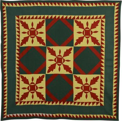 Mennonite Oakleaf Variation Quilt Circa 1880 Pennsylvania