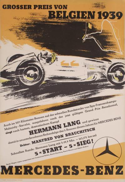 Mercedes Benz Lithograph Poster 1939