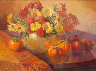 Meredith Brooks Abbott Still Life with Persimmons and Pomegranates