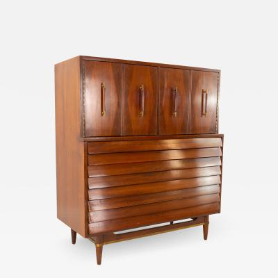 Merton Gershun Merton Gershun for American of Martinsville Louvered 7 Drawer Highboy Dresser