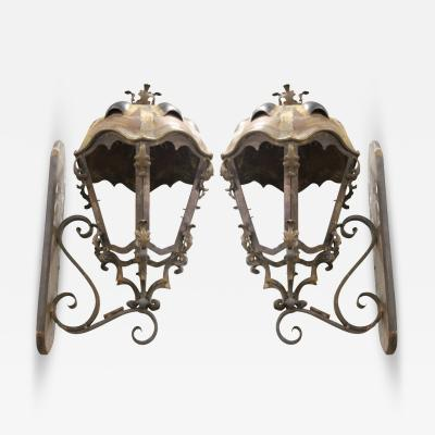 Metal and Copper Sconces Handcrafted from Budapest with Turtle Back Top a Pair