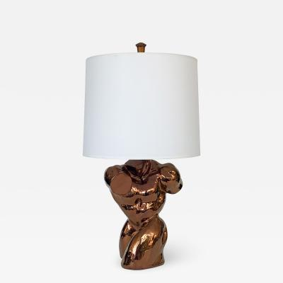 Metallic Copper Glazed Ceramic Nude Male Torso Table Lamp