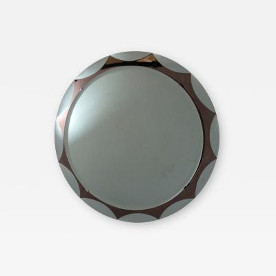 Metalvetro Galvorame Italian Mid Century Round Mirror by Metalvetro Galvorame