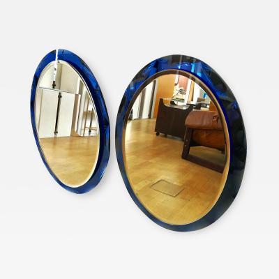 Metalvetro Galvorame Pair of Oval Blue Mirror