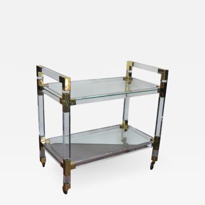 Metric Lucite and Brass Bar Cart