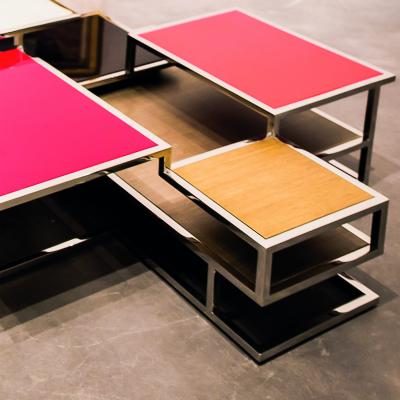 Metropolis Coffee Table with Tops and Shelves of Different Heights