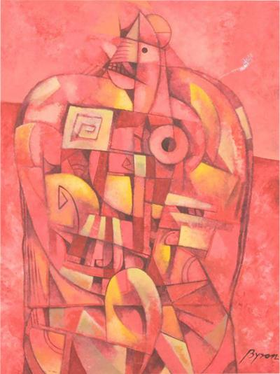 Mexican Modernist Byron Galvez Abstract Expressionism Mixed Media Pink Rooster