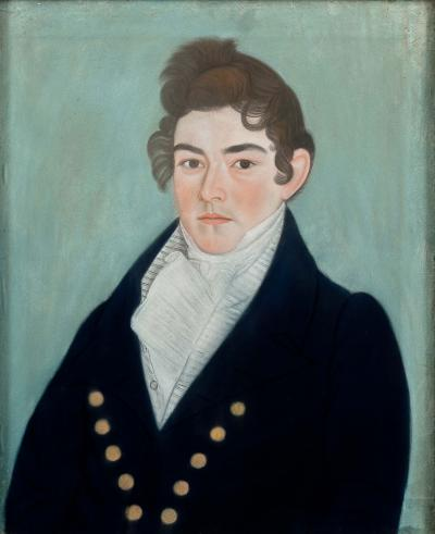 Micah Williams Portrait of a Handsome Young Man in a Blue Coat