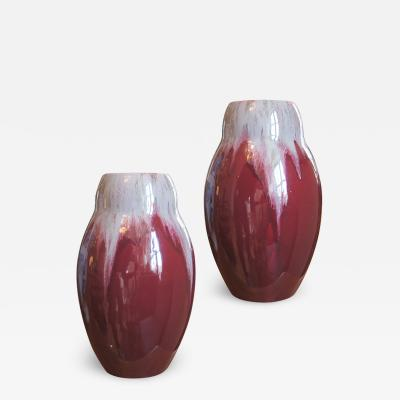 Michael Andersen Sons Pair of Vases in Burgundy and Flowing Gray by Michael Andersen Sons