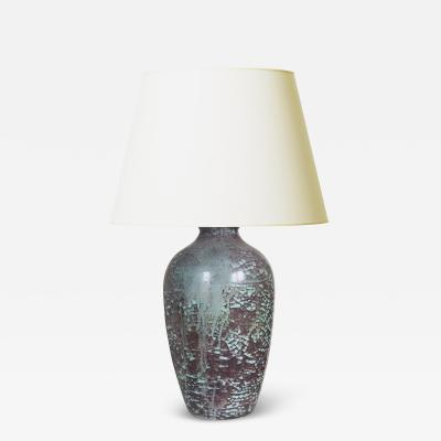 Michael Andersen Sons Plum and Celadon Craquelure Glaze Lamp by Michael Andersen Sons
