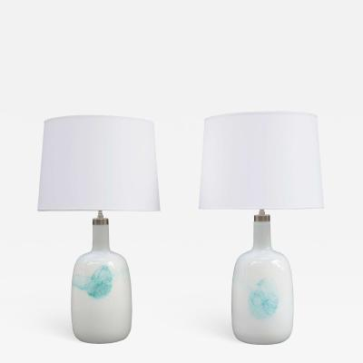 Michael Bang Large Pair of Michael Bang Art Glass Table Lamps
