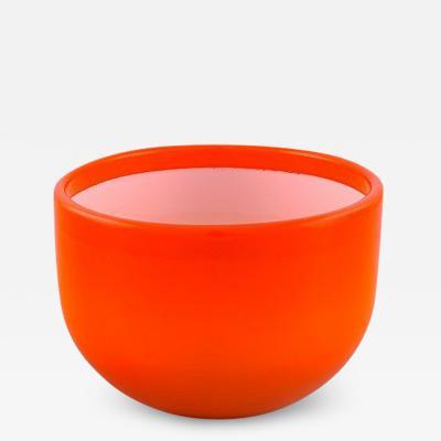 Michael Bang Large Palet bowl in orange and white art glass